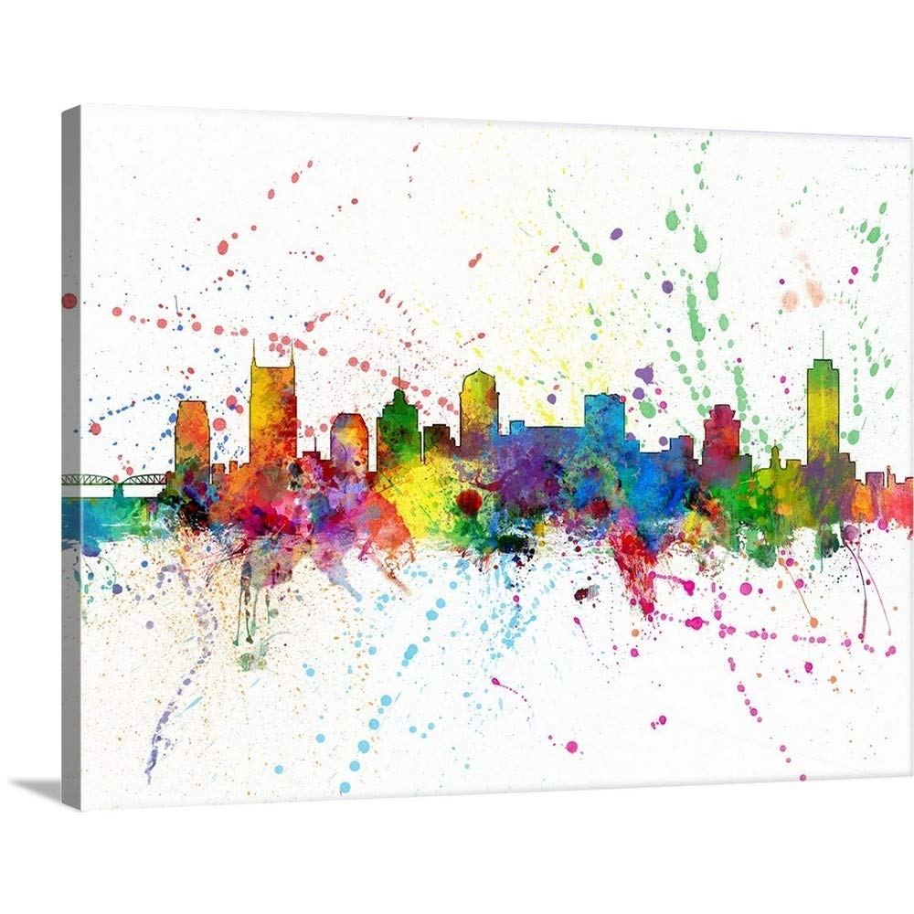 """GREATBIGCANVAS Gallery-Wrapped Canvas Entitled Nashville Tennessee Skyline by Michael Tompsett 48""""x36"""""""