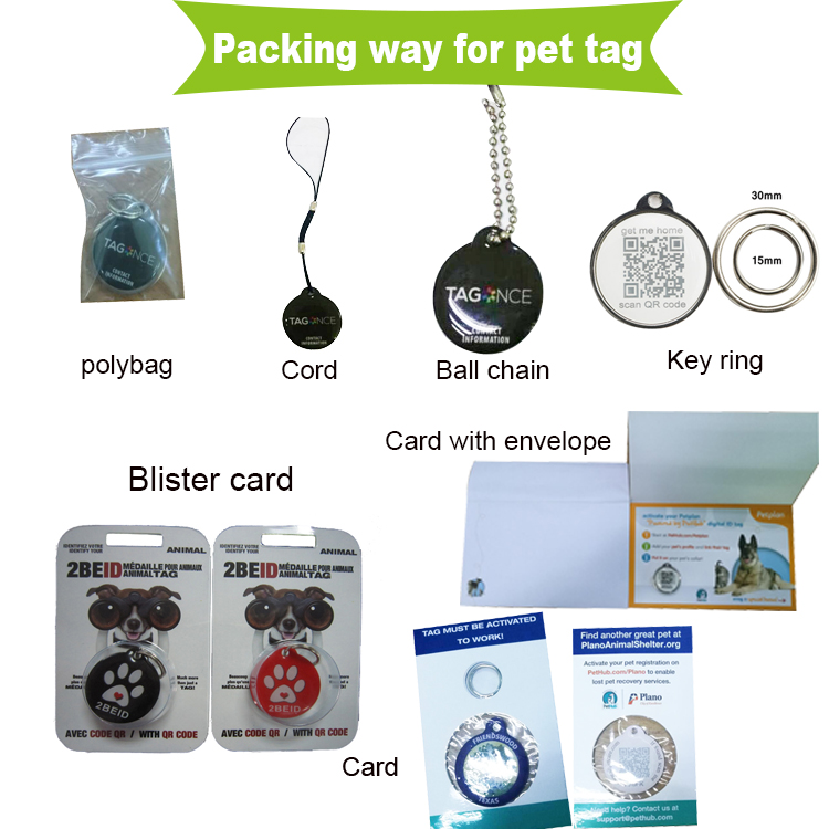 Zinc alloy RFID Ntag213 nfc chip qr code and ID number dog pet tags