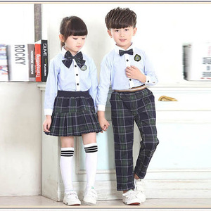 custom kids design pleated skirt girls school uniform for primary students girls plaid skirt and pants uniforms OEM