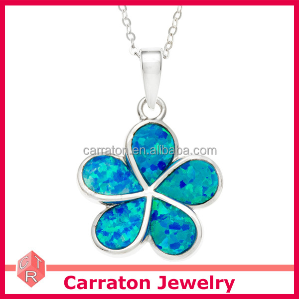 Hot Sale 925 Sterling Silver Blue Inlay Opal Hawaiian Flower Necklace Pendant