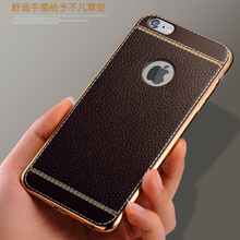 Men's electroplating TPU mobile phone shell litchi skin for iPhone 6 plus embossed phone cover
