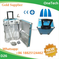 Portable dental unit/instrument/equipment with air compressor, ultrasonic scaler, led curing light and other dental accessories