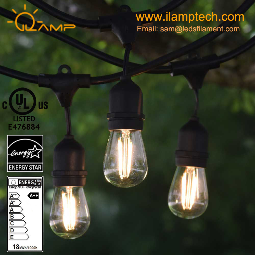 Outdoor Weatherproof Commercial Grade LED String Light with Hanging Sockets WeatherTite Technology ilamptech S14 LED Bulbs