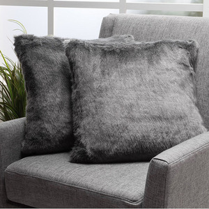 Grey Decorative cushion cover Faux Fur Fabric Throw Pillow for the Living Room or Bedroom