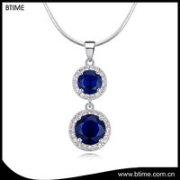 Gold plated necklace blue crystals fashion jewelry alloy necklace
