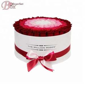 Luxury rose box custom logo cardboard gift round flower box
