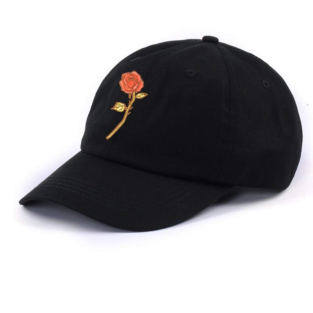 fda8b29ee0f Get Quotations · PT FASHIONS Rose Embroidered Women Dad Hat Adjustable Polo  Style Low Profile Outdoor Snapback Baseball Cap