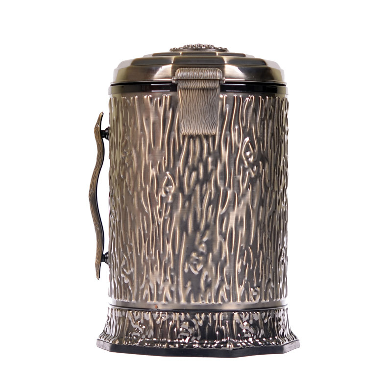 Pedal bin Tayih home luxury European style antique metal storage creative high-end bathroom trash barrel