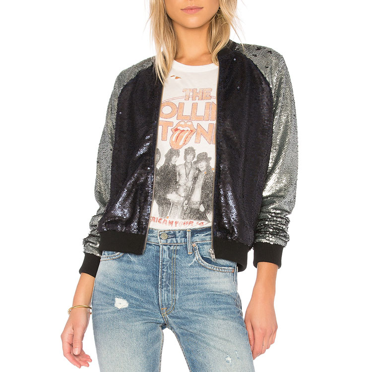 d880d2db1 Autumn Fashion Women Long Sleeve Polyester Black And Silver Sequin Pilot  Bomber Jacket - Buy Women Polyester Bomber Jacket,Autumn Sequin  Jacket,Sequin ...