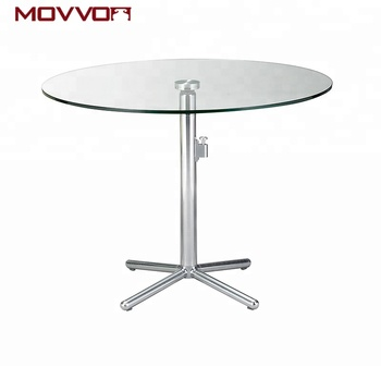 Round Gl Top Folding Table Dining Tables With Metal Base