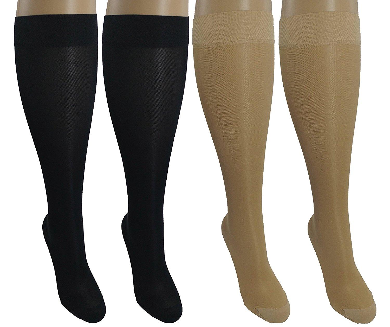 4 Pair Sheer Large/X-Large Ladies Compression Socks, Moderate/Medium Graduated Compression 15-20 mmHg. Nurses, Work, Therapy, Travel & Flight Knee-High Hosiery. Colors: 2 Nude, 2 Black