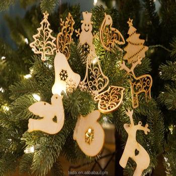 laser cut wooden christmas tree ornaments set - Christmas Tree Ornaments Sets