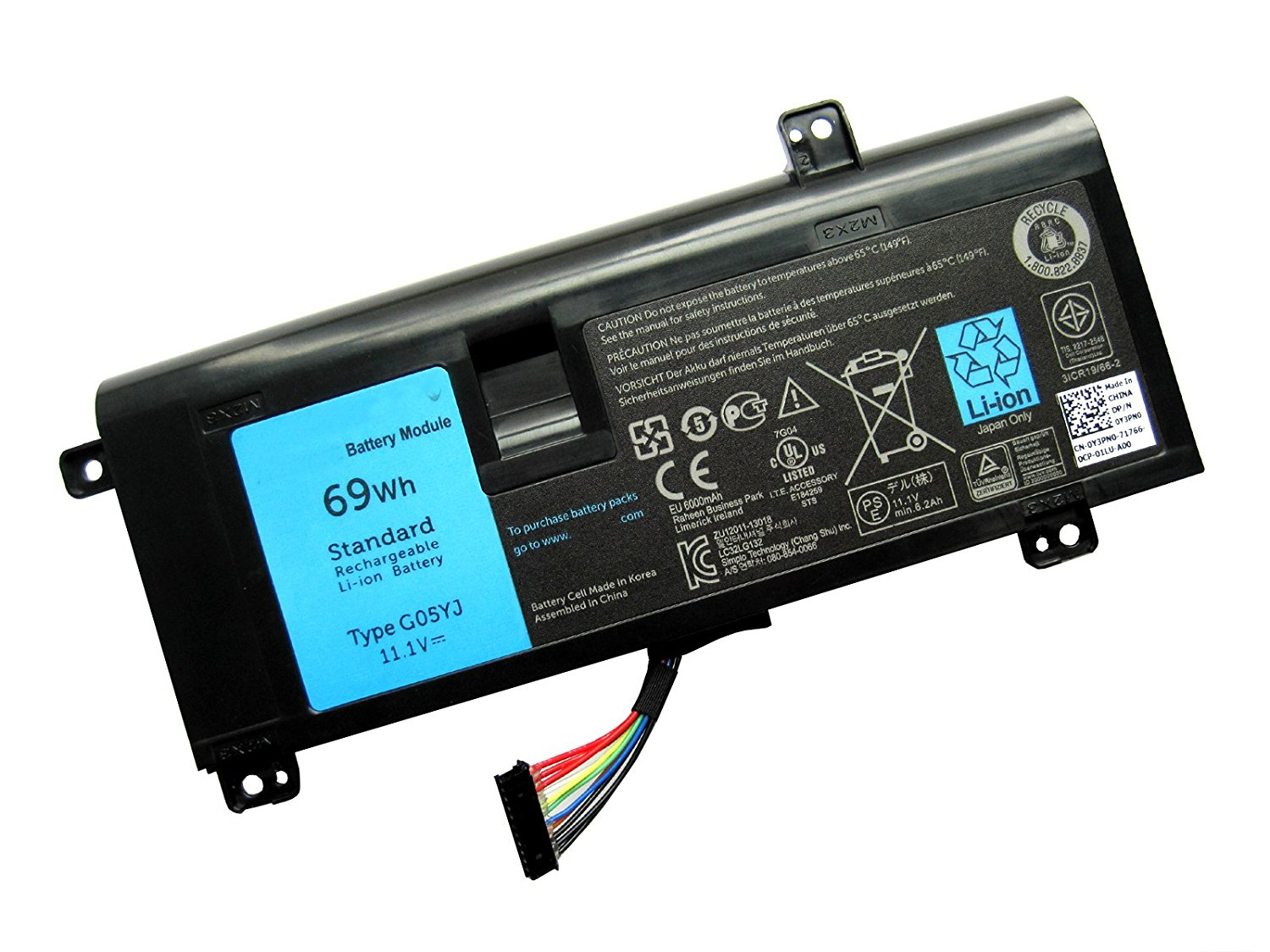 ZWXJ Laptop Battery G05YJ(11.1V 69Wh) for Dell Alienware 14 A14 M14X R3 R4 Series Alienware 14D-1528 Y3PN0 8X70T