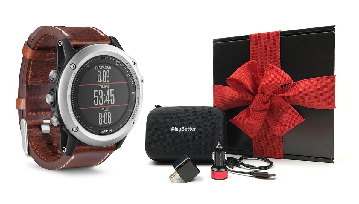 Garmin fenix 3 Sapphire (Silver/Leather Band) GIFT BOX Bundle | Includes Multi-Sport GPS Fitness Watch, PlayBetter USB Car & Wall Adapter, Charging Cable & GPS Carry Case | Black Gift Box & Red Bow