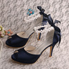 (20 Colors)Navy Open Toe Summer Ladies Wedding Sandals with Ribbon