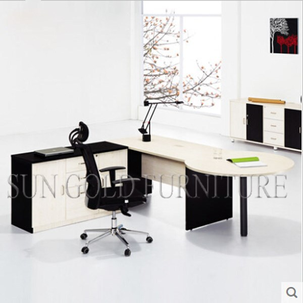 Oficina ejecutiva escritorio blanco con popular moderna for Mesa auxiliar oficina