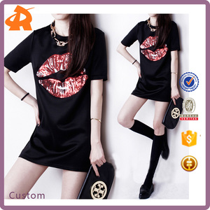 High Quality Fashion Design Small Girls Dress Print Big Lips Blank T-shirt Dress For Women