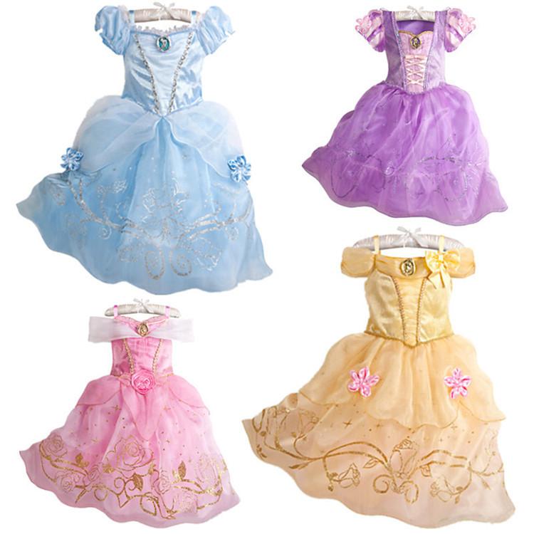 Original Princess Snow White Cinderella Dresses Costumes: 2016-New-Girls-Cinderella-Dresses-Children-Rapunzel-Snow