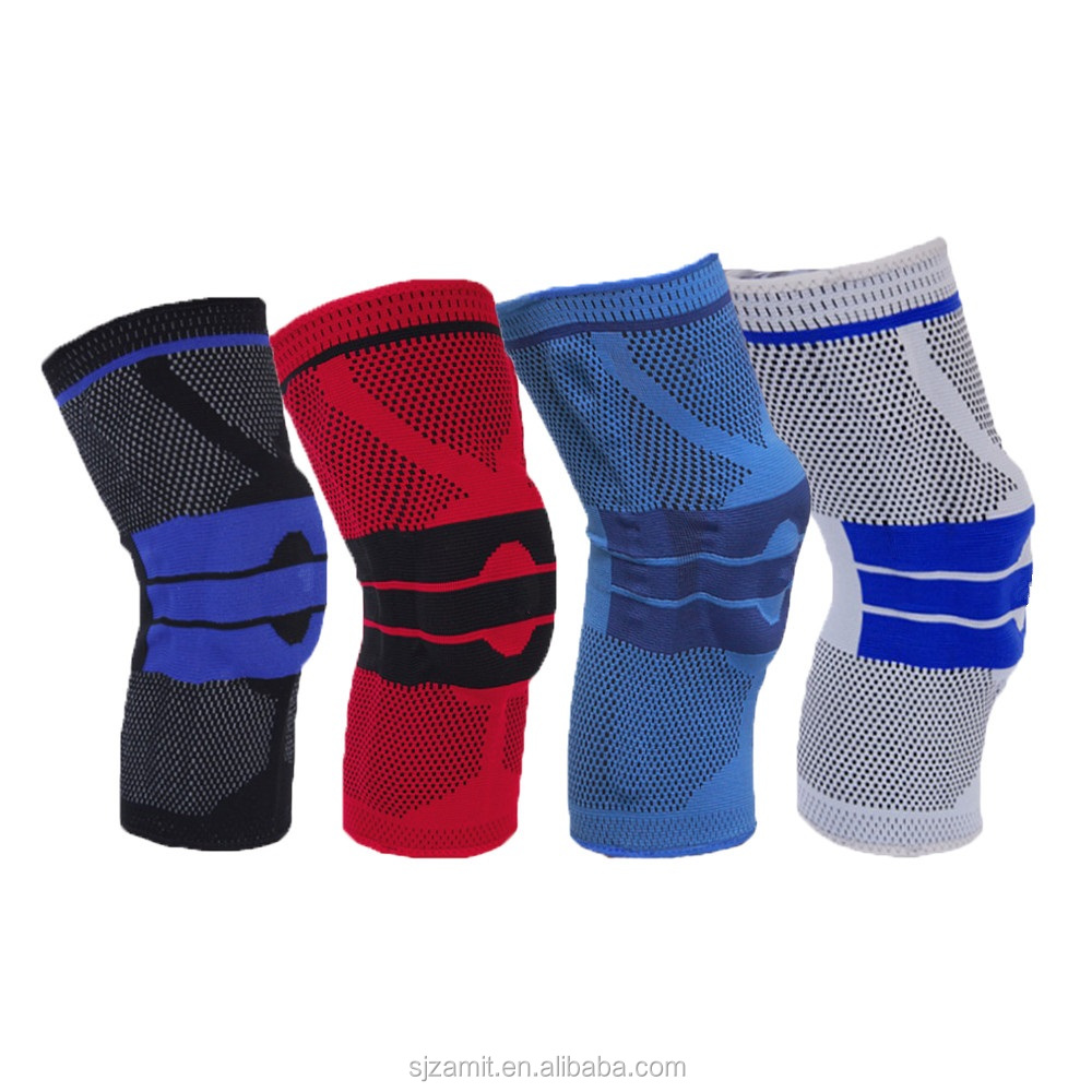 silicon anitslip compression knitted knee brace with side stabilizers and silicone pad