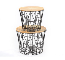 Modern design storage type metal basket and bed side table