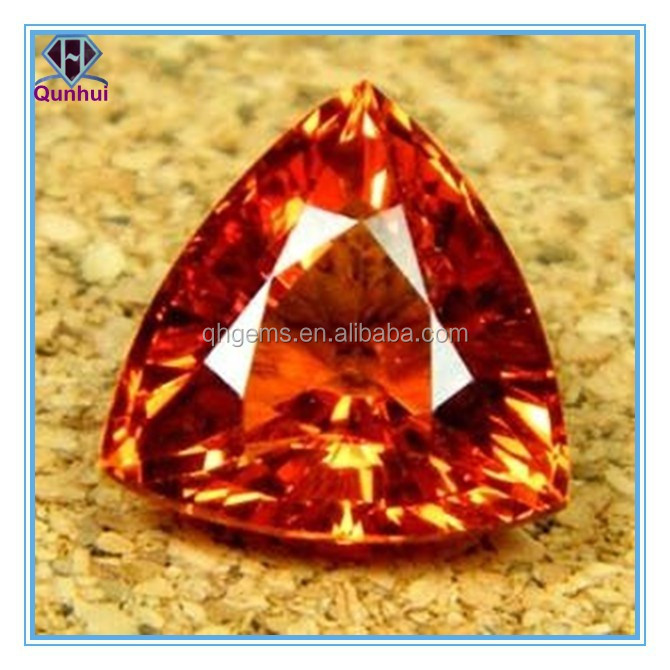 dazzling garnet triangle shaped cubic zirconia