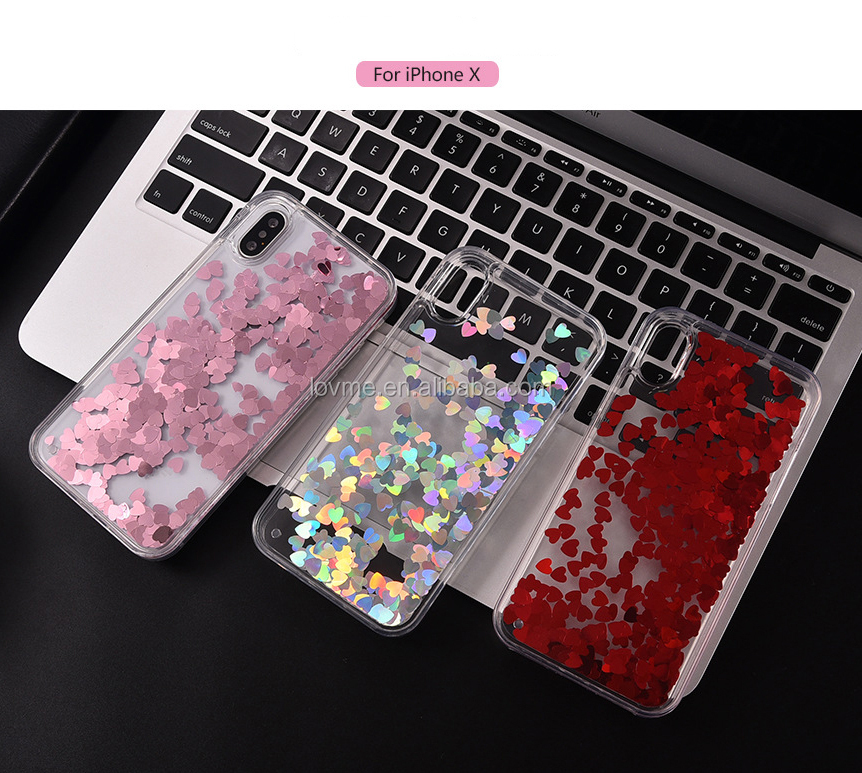Fashion Love Shape Shinny Leaving Sand Back TPU Silicon Phone Case Cover For Apple Iphone X