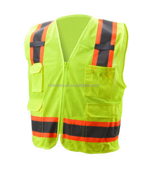 Mesh fabric safety vest lime or orange railroad reflective vest with pockets