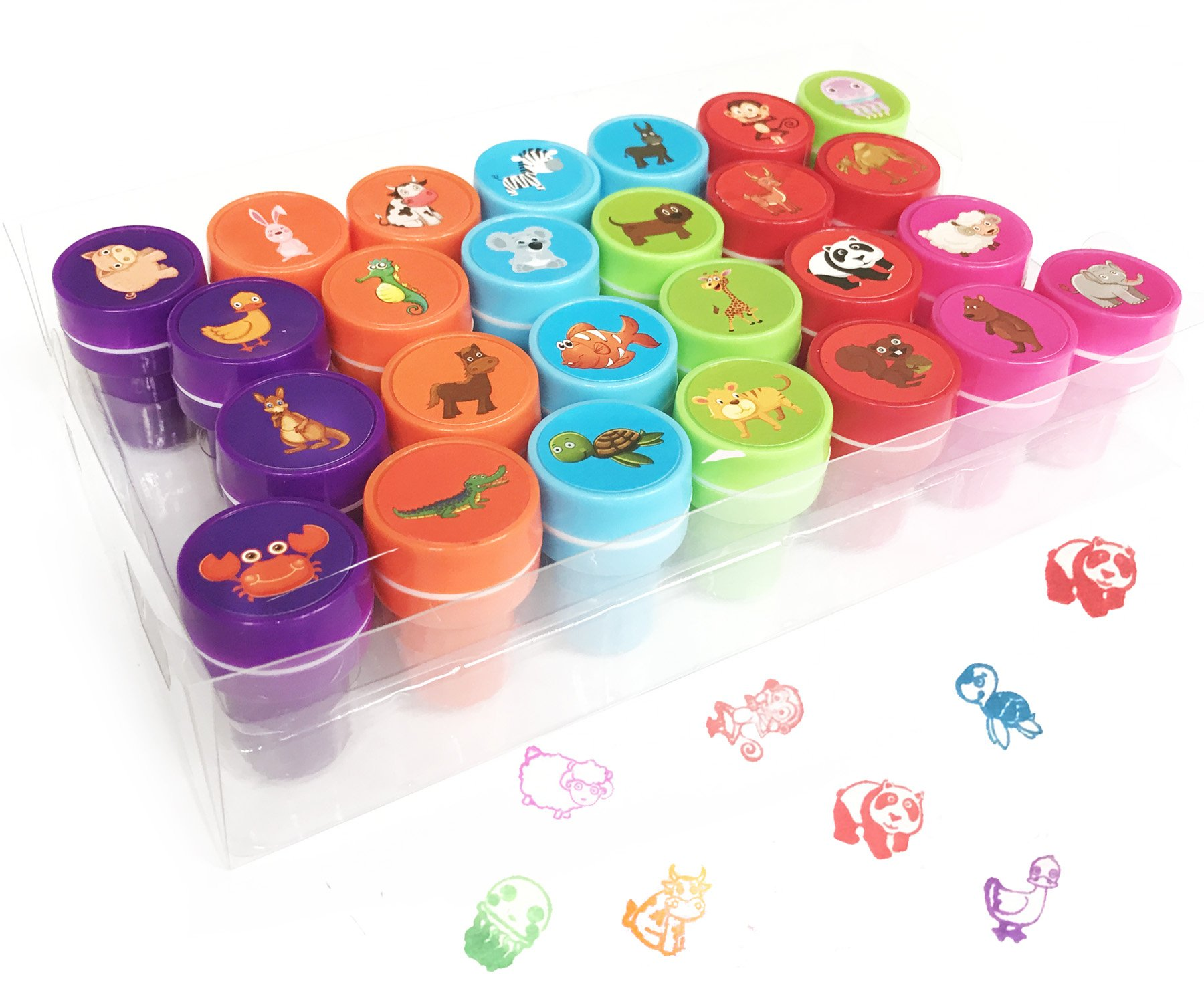 26 Pieces Animals Stamps with 30 Sheet Stickers for Kids,Self-Ink Washable Ink Stampers Set for Children Party Favor,School Prizes,Birthday Gift,Learn Props