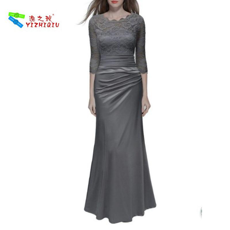 YIZHIQIU Retro Floral Lace Vintage Slim Ruched Dress