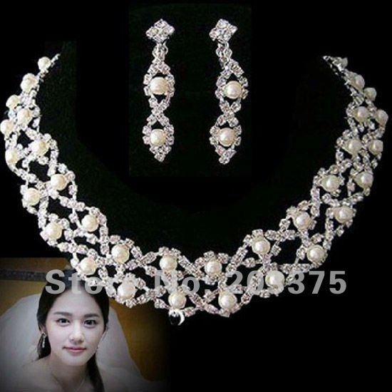 Cheap Pearl Necklace Sets: Wedding Bridal Jewelry Set Pearls Rhinestone Jewelry Set