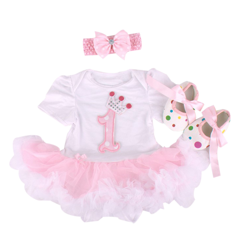 81e084c44 Baby Rompers 3PCs Infant Clothing Set Baby Girls White Pink 1st ...