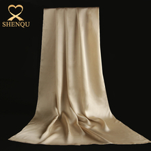 Hangzhou factory pure silk satin shawl custom design bulk silk scarves solid color pink white 100% 16mm silk Satin scarf