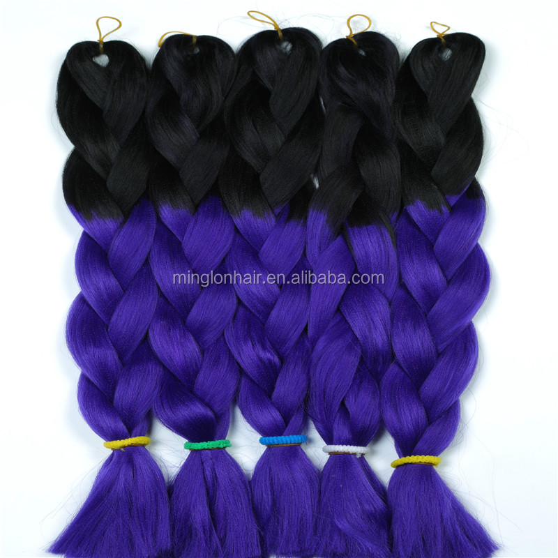 Wholesale price synthetic single color jumbo braiding hair 24 inch expression crochet braiding hair