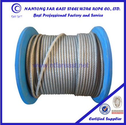 14 mm Trade assurance plastic or pvc coated or galvanized steel wire rope of 6x7+FC for winch and cable