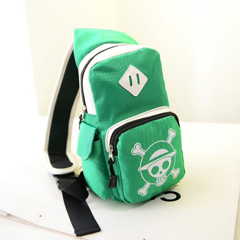 17397332af27 Get Quotations · One Piece Luffy Skull Hat & Law backpack sling chest bag  Anime school single bags shoulder