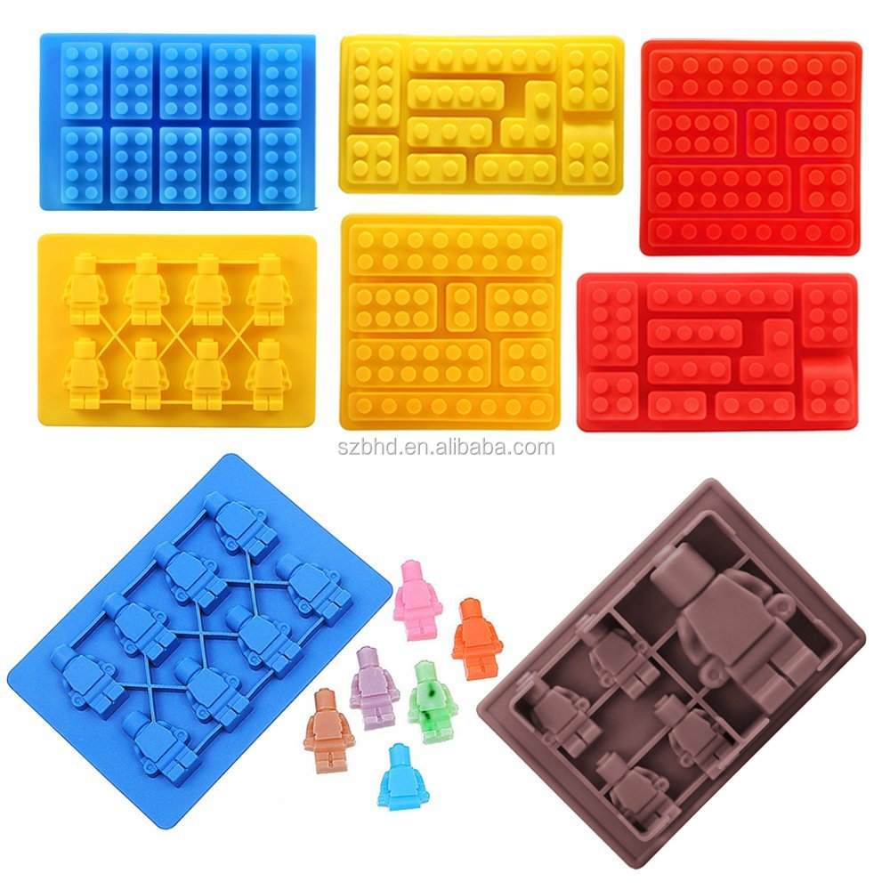 100% Food Grade Silicone Candy Molds & Ice Cube Trays,Silicone Building Blocks and Minifigures Chocolate Molds