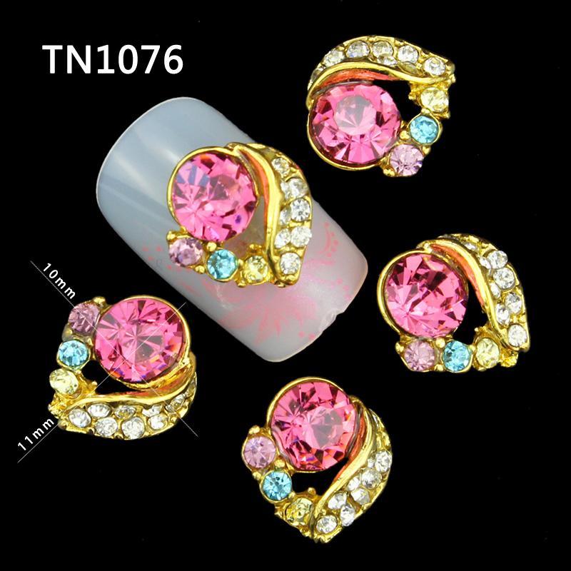 10 Pcs Glitter 3D Love Heart Colors Rhinestones For Nail Art Decorations Gel Polish DIY Gold