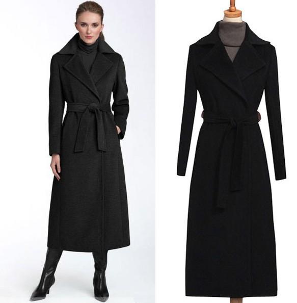 Autumn winter woman vintage black maxi coat ankle length