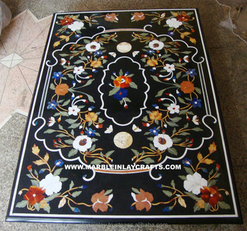 Indian Marble Inlay Table Top, Black Marble Inlay Dining Table Top