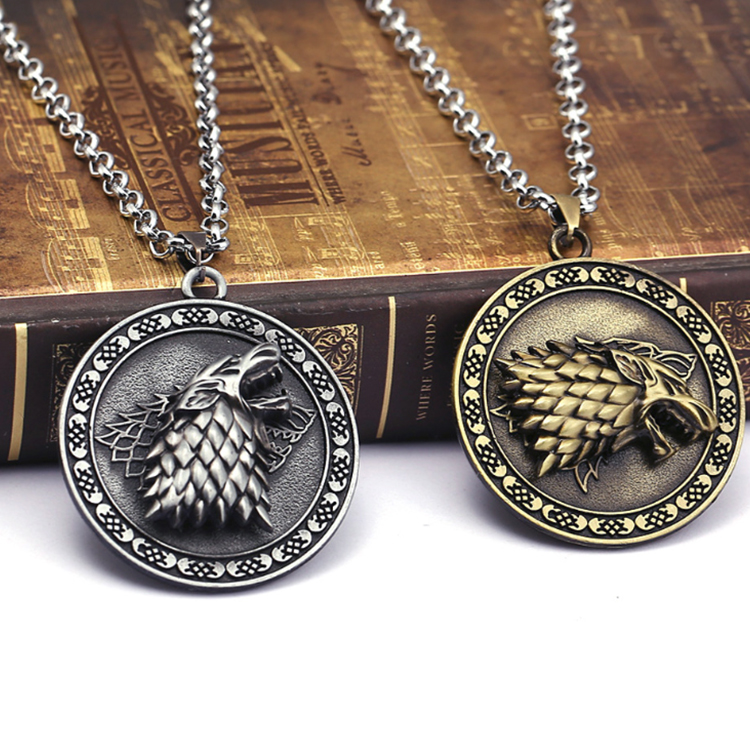 Wholesale Game of Thrones zinc alloy metal antique pendant necklace