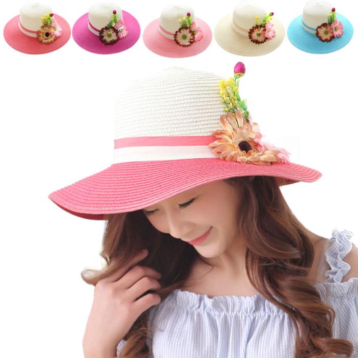 Get Quotations · SPLENDID New Girl Summer Straw Hat Ornament Flower Sun Hat  Foldable Beach Straw Hat cf2a769eea97