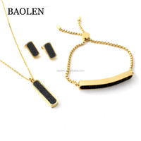 Wholesale Bridal Wedding Party Natural Druzy Black Crystal Necklace/Earrings/Bracelet Jewelry Set