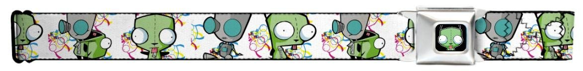 Invader Zim Faces White Seatbelt Belt - for your pants (Snap Like Seatbelt Buckle)