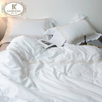 White 300TC Sateen 100 Pure Cotton Embroidery Hotel Living 5 Star Luxury Home Bedding