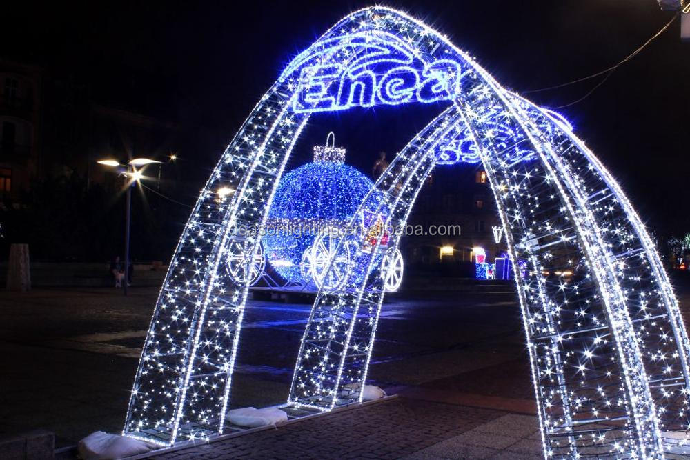 christmas lighted star shape motif/ outdoor street arch lights, led motif arch