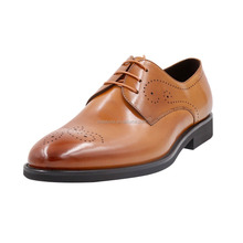 designer genuine leather lace up classic brown brogue shoes men
