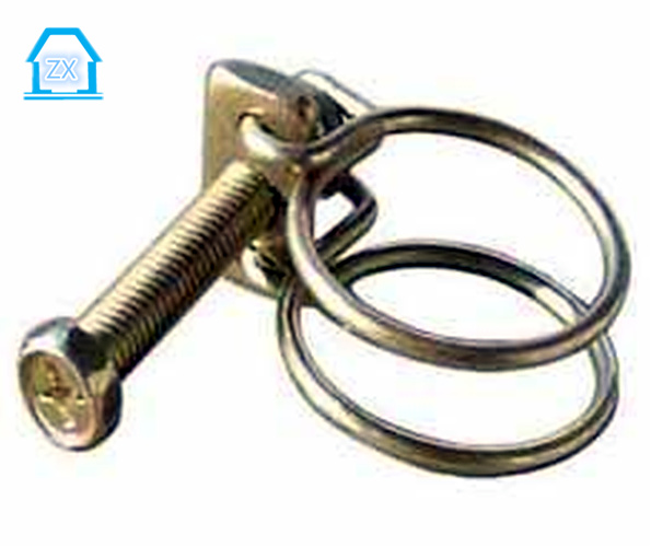 color galvanized double wire hose clamp