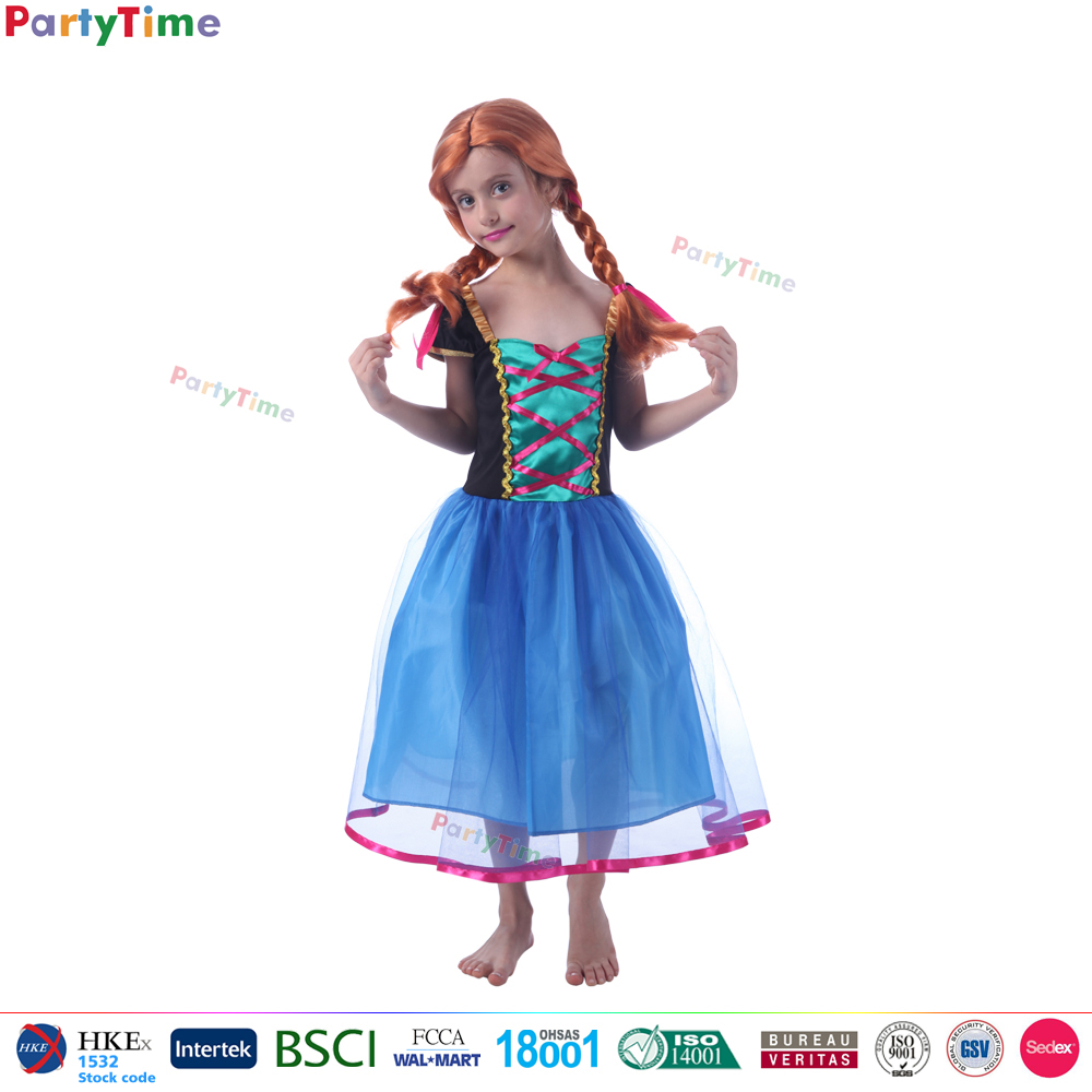Hot film frozen enfants anna et elsa de mascotte halloween carnaval costume enfant parti robes
