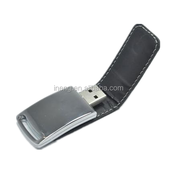 Full capacity simple style leather USB flash pen drive free samples