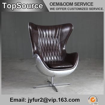 Arne Jacobsen Egg Chaise En Forme Avec Aluminium Retour Luxe Moderne